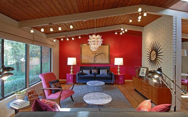ιδέες και σχέδια για Καθιστικού με κόκκινο χρώμα10