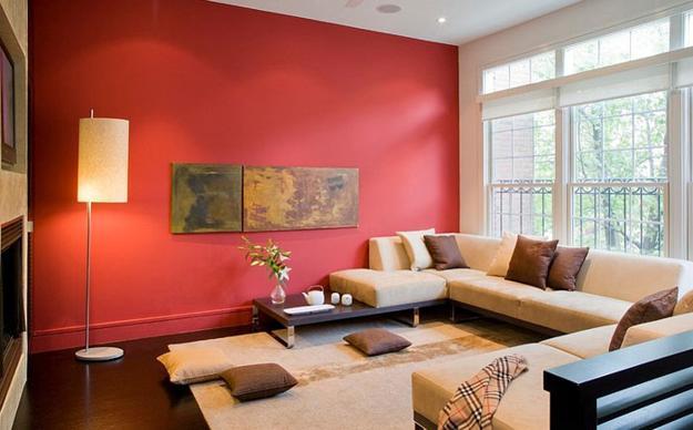 ιδέες και σχέδια για Καθιστικού με κόκκινο χρώμα13