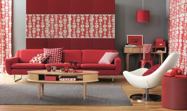 ιδέες και σχέδια για Καθιστικού με κόκκινο χρώμα18