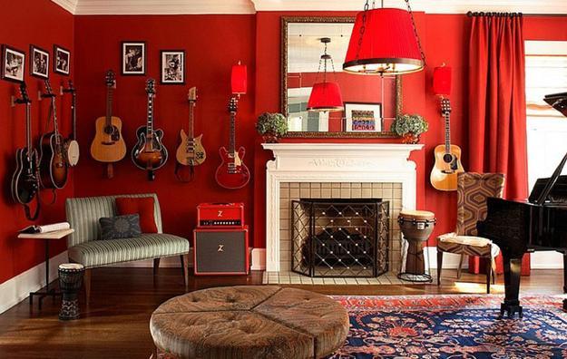 ιδέες και σχέδια για Καθιστικού με κόκκινο χρώμα2
