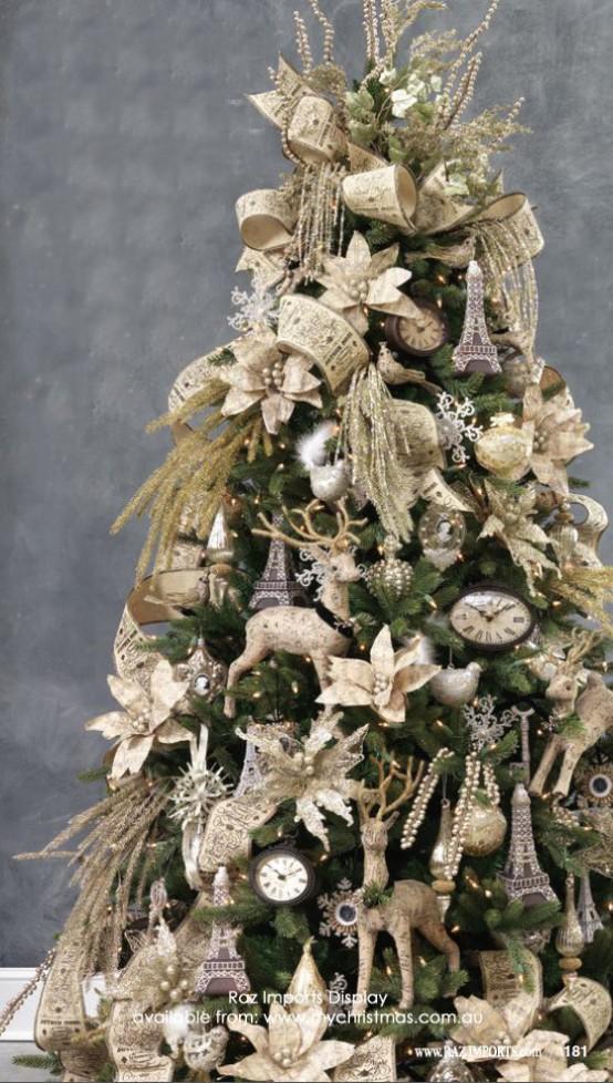 χρυσάφι Και Λευκές Χριστουγεννιάτικες Ιδέες40