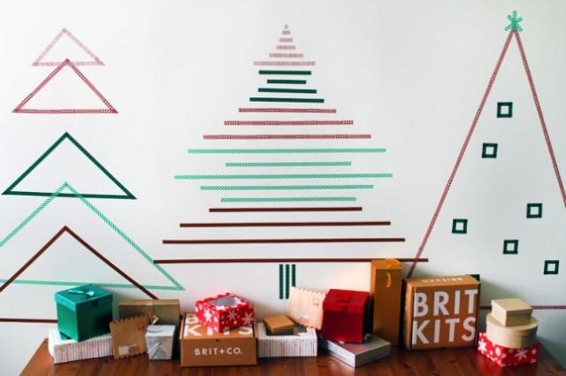 ιδέες με Χριστουγεννιάτικα Δέντρα στον τοίχο16