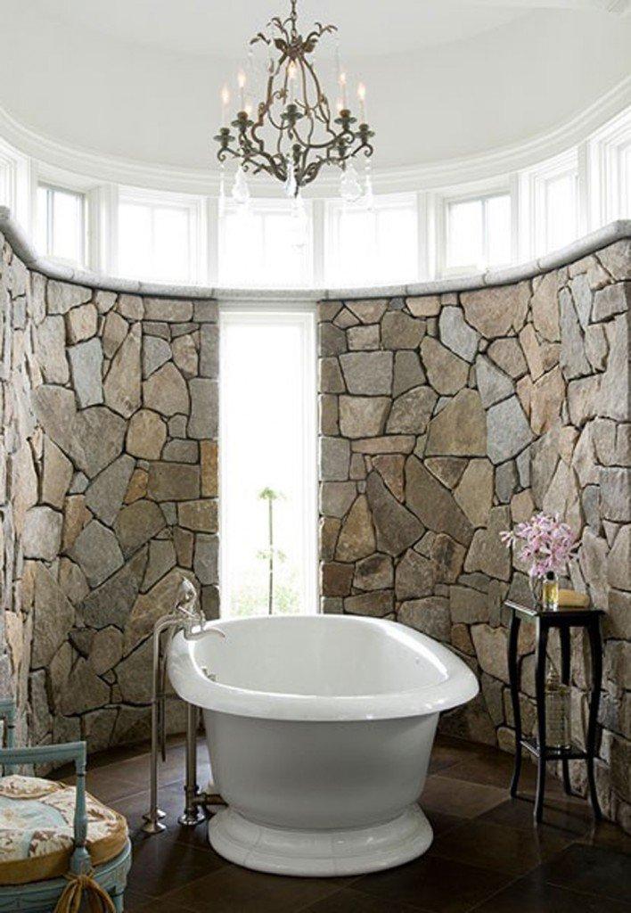Ζεστά Σχέδια Μπάνιου με πέτρινους τοίχους1