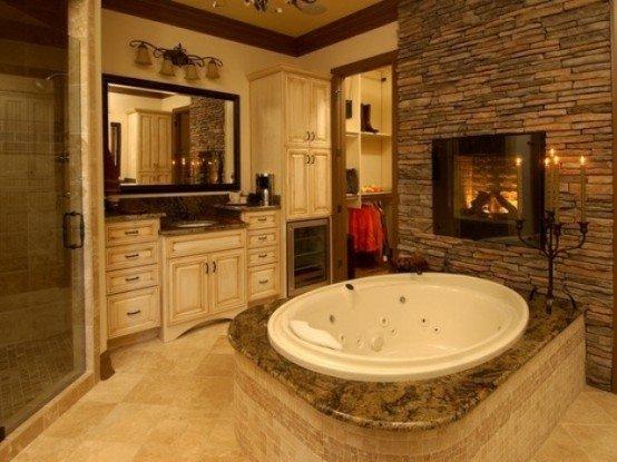 Ζεστά Σχέδια Μπάνιου με πέτρινους τοίχους13
