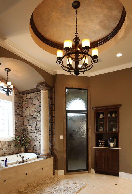 Ζεστά Σχέδια Μπάνιου με πέτρινους τοίχους14
