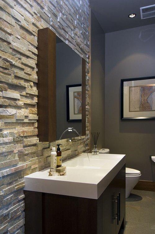 Ζεστά Σχέδια Μπάνιου με πέτρινους τοίχους5