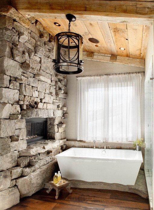 Ζεστά Σχέδια Μπάνιου με πέτρινους τοίχους9