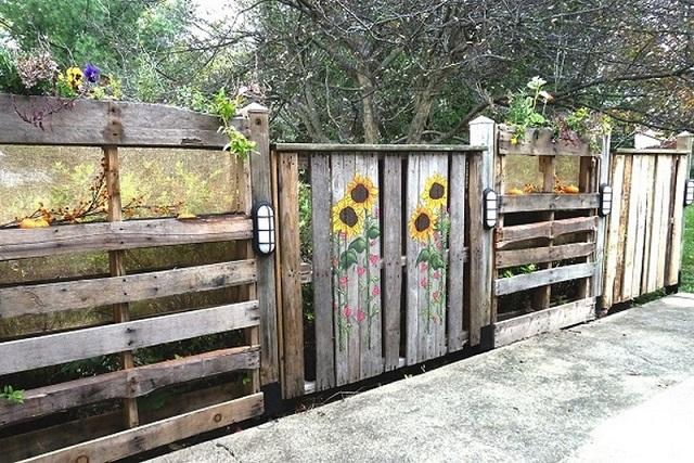 Ιδέες με Φράχτες από ξύλινες παλέτες6