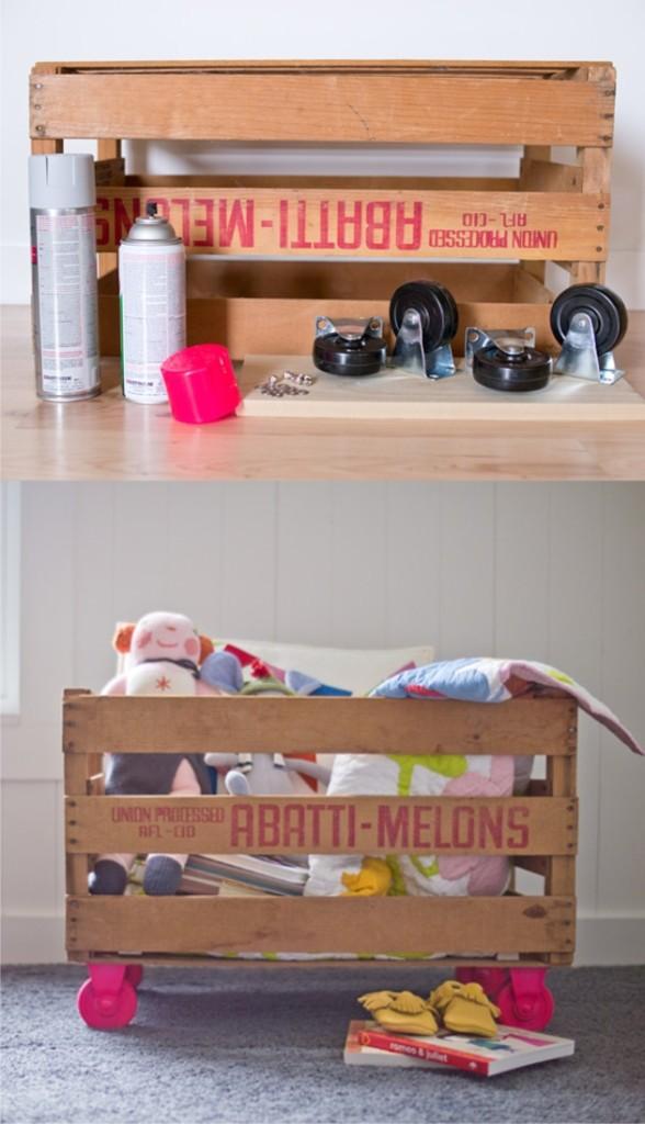 Diy μοντέρνο κουτί αποθήκευσης για το παιδικό από καφάσια