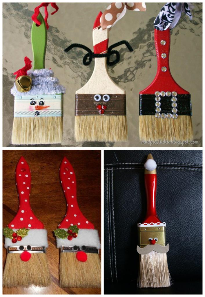 Diy στολίδια Άγιος Βασίλης από πινέλα1