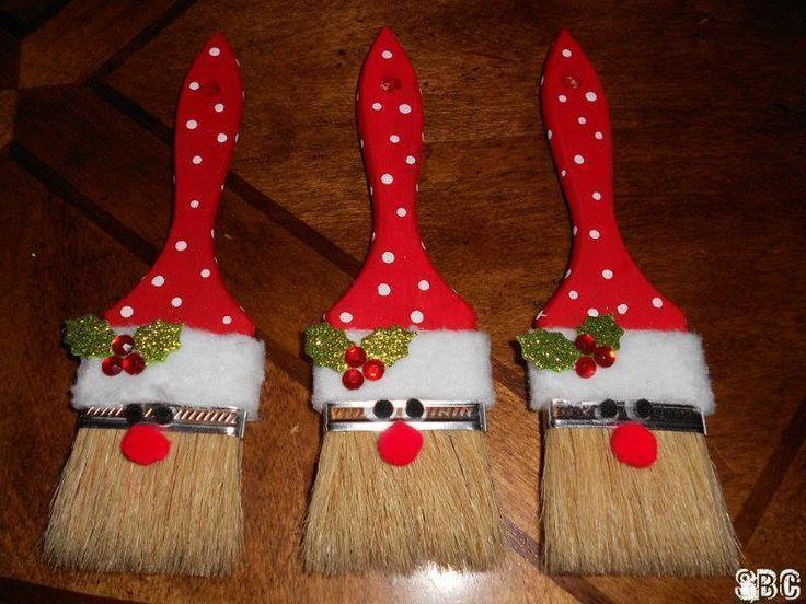Diy στολίδια Άγιος Βασίλης από πινέλα4