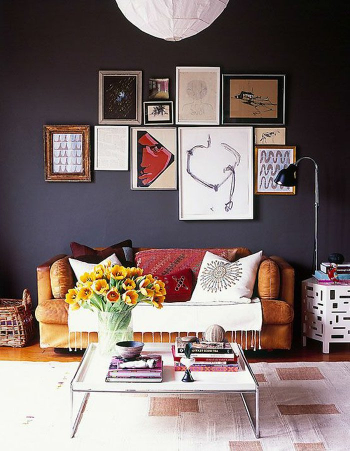 wall decoration ideas in dark shades47