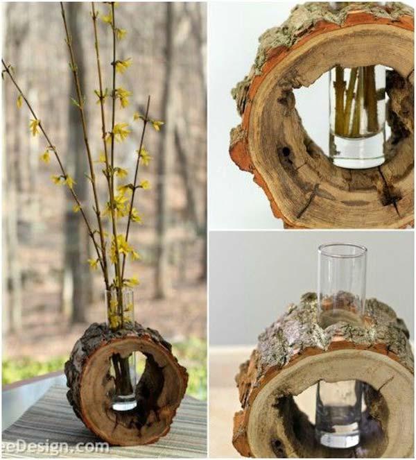 βάζα από κούτσουρο δέντρου6