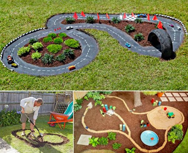 DIY Πίστα αγώνων αυτοκινήτων για τον κήπο1