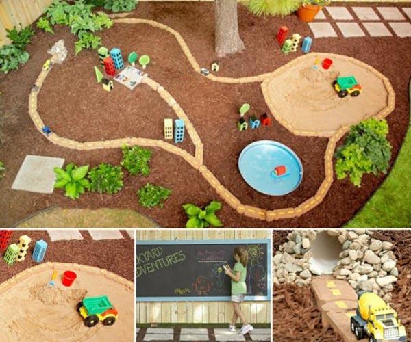 DIY Πίστα αγώνων αυτοκινήτων για τον κήπο3