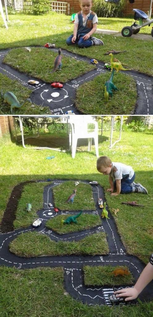 DIY Πίστα αγώνων αυτοκινήτων για τον κήπο5