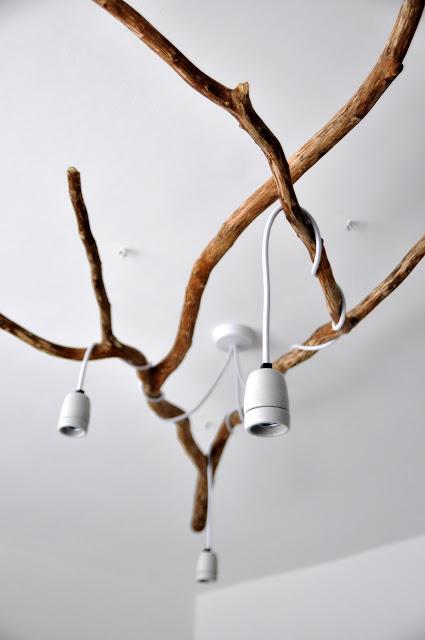 DIY πολυέλαιος απο κλαδιά δέντρου5