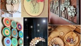 diy ιδέες διακόσμησης τοίχου με φέτες ξύλου
