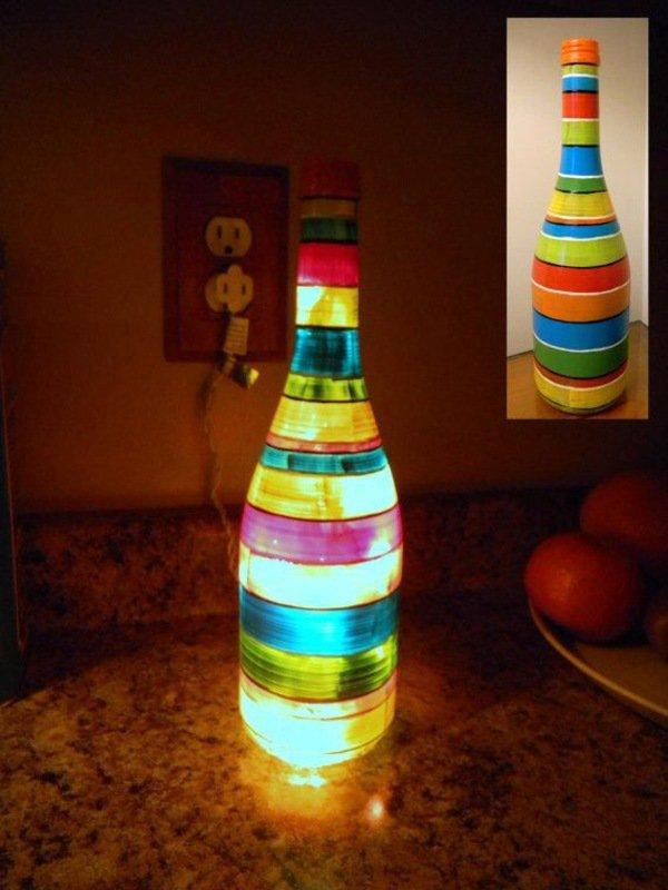 παλιά γυάλινα μπουκάλια σε απίθανα φωτιστικά11
