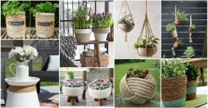 DIY γλάστρες από σχοινί