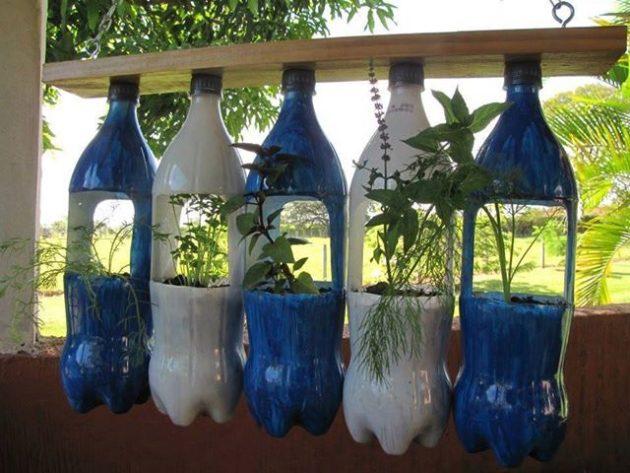 DIY γλάστρες από πλαστικά μπουκάλια2