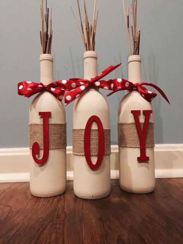 DIY Χριστουγεννιάτικη διακόσμηση από γυάλινα μπουκάλια1